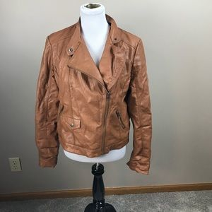 Mossimo Vegan Brown Leather Asymmetrical Coat